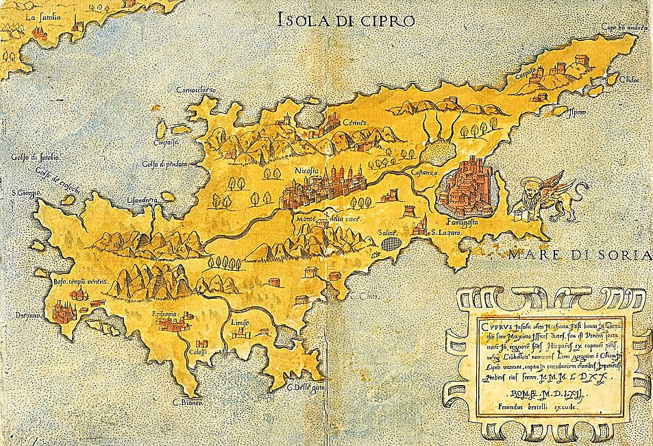 CYPRUS - MAP - Ferrando Bertelli, 1562 in