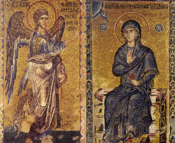 Mozaic din secolele XI-XII cu scena Bunei-vestiri din katholikonul Mănăstiriii Vatoped.