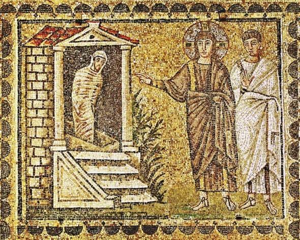 "The raising of Lazarus""  Mosaic (6th) Sant Apollinare Nuovo, Ravenna, Italy"