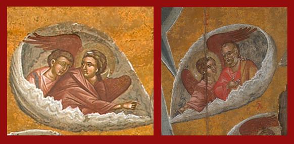 «Apostoli, de la margini adunându-vă aici, în satul Ghetsimaní», detalii de pe icoana portabilă a Adormirii Maicii Domnului