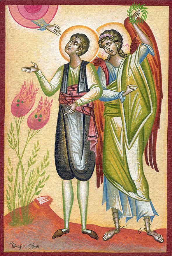 Sfântul Noul Mucenic Nicolae, băcanul - icoană de Konstantinos Kougioumtzis