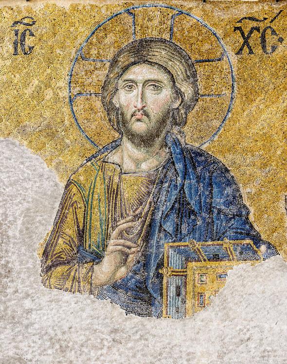 Icoana – Iisus Hristos Pantocrator, fragment de mozaic al scenei Deisis din Sfânta Sofia, Constantinopol