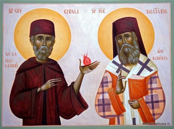 Sfinții Nectarie al Eghinei și Efrem de la Nea Makri - icoană pictată de Mihai Coma n