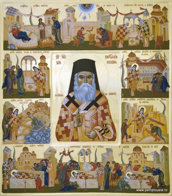 Sfântul Nectarie al Eghinei, cu scene din viață - Icoană pictată de Mihai Coman