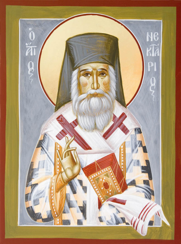 St. Nectarios, wooden icon. © Julia Bridget Hayes, The use is strictly forbidden
