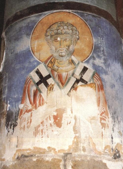 Sfântul Dimitrianós, episcop de Xýtroi. Frescă din biserica Hristos Antifonitís din satul Kalograía, Kerýneia (Cipru)