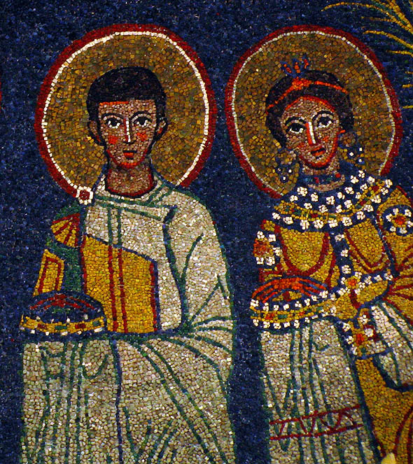 Mozaic de secol IX din Biserica Santa Cecilia in Trastevere, Roma, de pe locul martiriului
