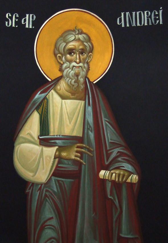 Sfântul Andrei într-o reprezentare iconografică contemporană (Ioan Popa, Mănăstirea Afteia, jud. Alba), dar care înfăţişează aceeaşi figură ascetică