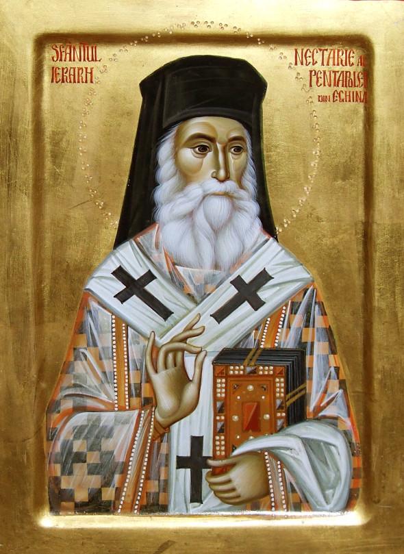 Sfântul Ierarh Nectarie - icoană pictată de Ioan Popa