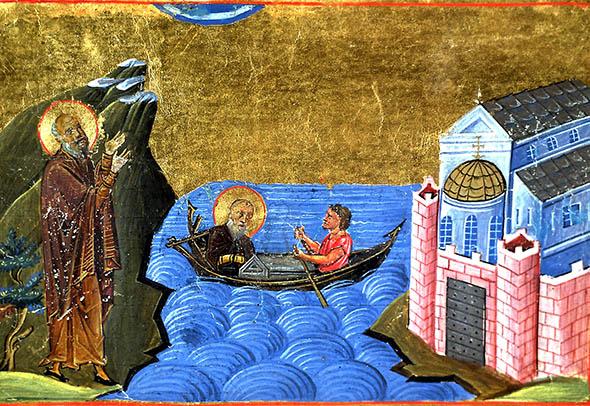 Sfântul Theodor Studitul binecuvântând Mănăstirea Stoúdion, ilustrație de manuscris bizantin