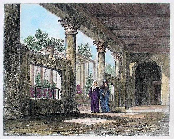 Mănăstirea Stoúdion în vremea pe când era cunoscută sub numele de moscheea Imrahor, litografie colorată de mână din 1860