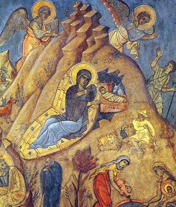 sfintite in - Nasterea Domnului, icoana de Fotis Kontoglou