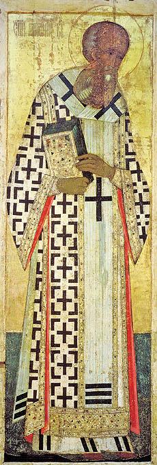 Sfântul Grigorie de Nazianz - icoană de Andrei Rubliov, 1406, iconostasul catedralei Adormirii Maicii Domnului din Vladimir
