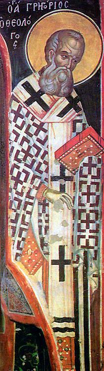 Sfântul Grigorie de Nazianz - frescă de Teofan Cretanu, Mănăstirea Stavronikita, Athos, 1546