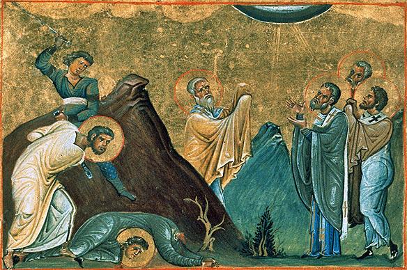 Erastus,_Olympus,_Rhodion,_Sosipater,_Quartus_and_Tertius_(Menologion_of_Basil_II)