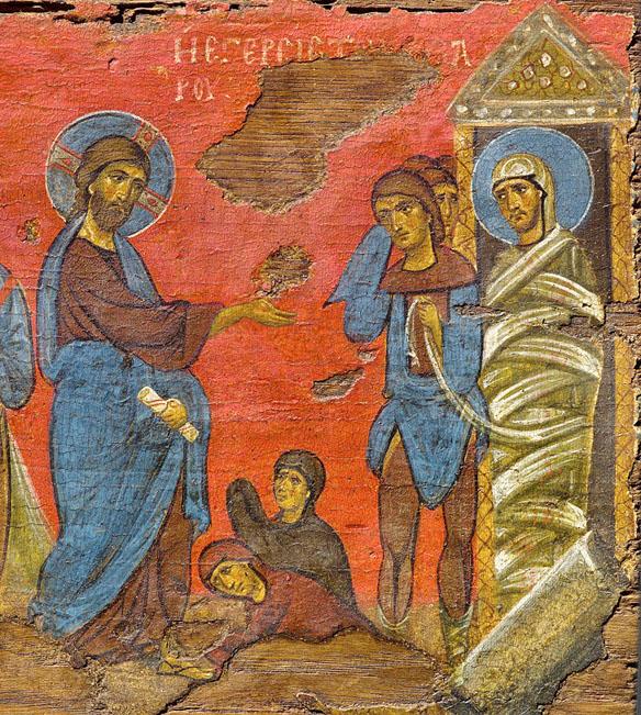 Învierea lui Lazăr, fragment de iconostas, secolul al XII-lea, Muzeul Bizantin, Atena