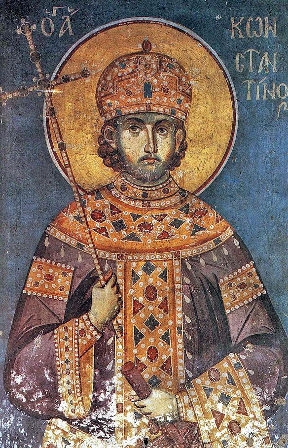 Constantin cel Mare, frescă din biserica Protaton, Athos, secolul XIV, de Manuil Panselinos