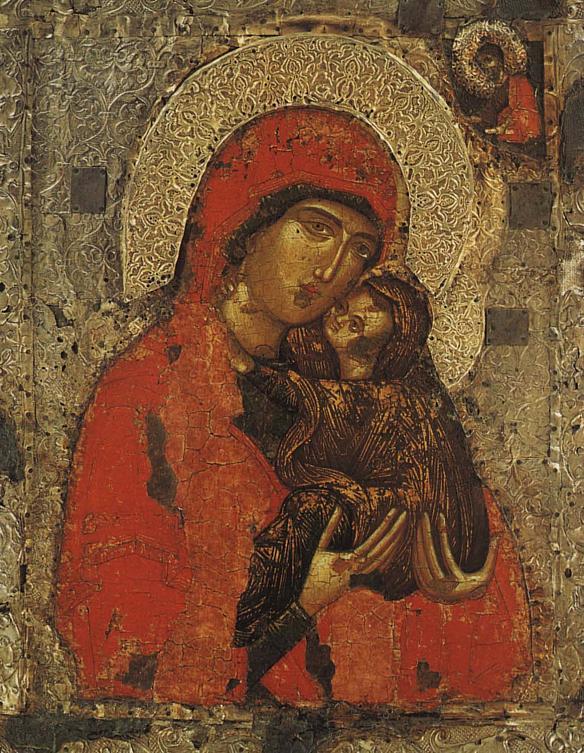 Sfânta Ana si Maica Domnului, icoană portabilă, Serbia, sec. XIV