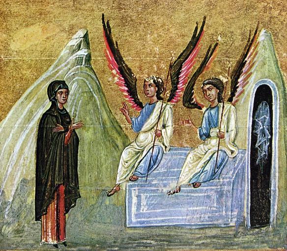 Maria Magdalena la mormânt, ilustraţie Evangheliar, Dionysiou, s11 IN
