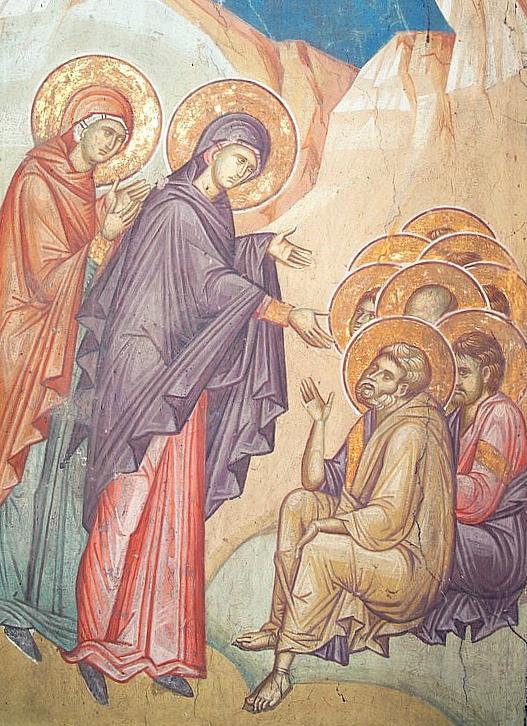 Maria Magdalena propovăduind Apostolilor Învierea, frescă Decani, s14 IN