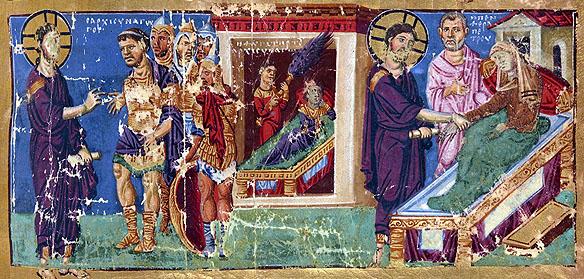 Vindecarea slugii sutaşului, ilustraţie manuscris bizantin, Bibl Nat de France MS Gr 510, anii 879-882
