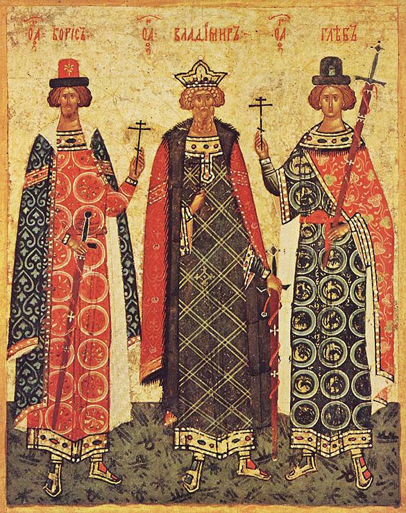 Sfântul Vladimir cu fii Boris si Gleb, icoană de la Novgorod, sec. XV