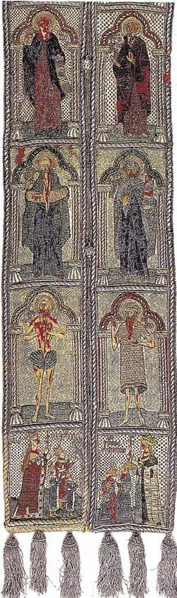 Epitrahil cu portretele donatorilor Neagoe Basarab, Milita Despina si sase dintre fiii lor (Manastirea Xenofon, inceput de secol XVI)