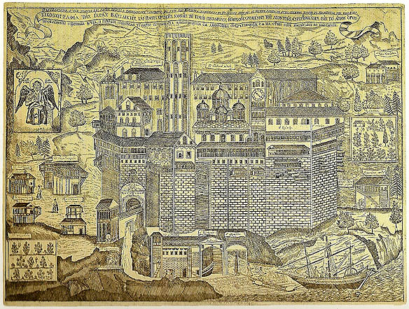 MANASTIREA DIONISIU gravura din 1754
