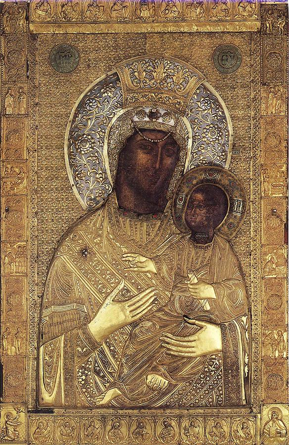Maica Domnului cu Pruncul - Vimatarissa (sec X, Manastirea Vatoped, acestei icoane i-a daruit Milita Despina, doamna Tarii Romanesti, un mar de aur cu margaritare)