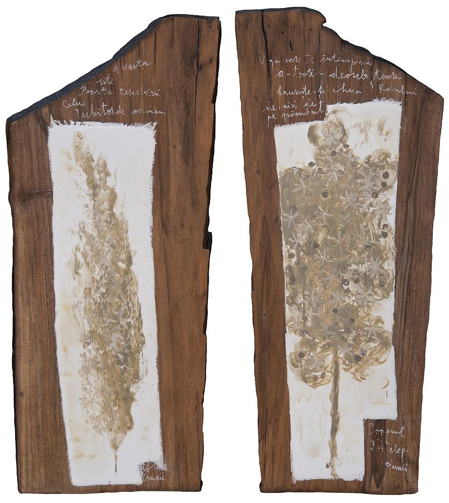 Ușile Raiului, pigmenți cu emulsie, lemn de nuc, 2x24x58cm © Angela Hanc, 2015