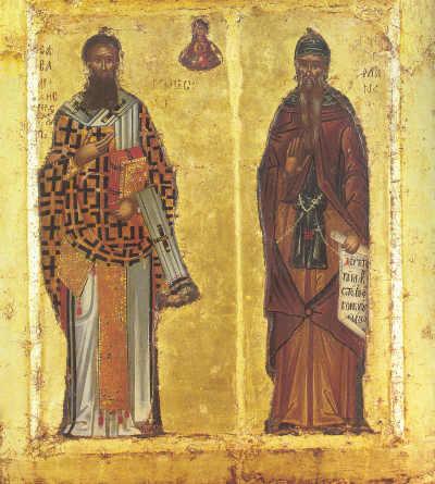 Sfinții Sava și Simeon, icoană portabilă, Sf. M. Hilandar, sec. XV