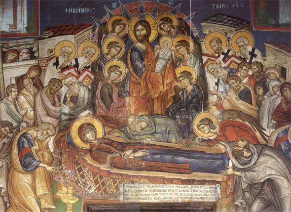 Adormirea Maicii Domnului. Pictură murală din biserica mare a Sfintei Mănăstiri Vatoped (1312)