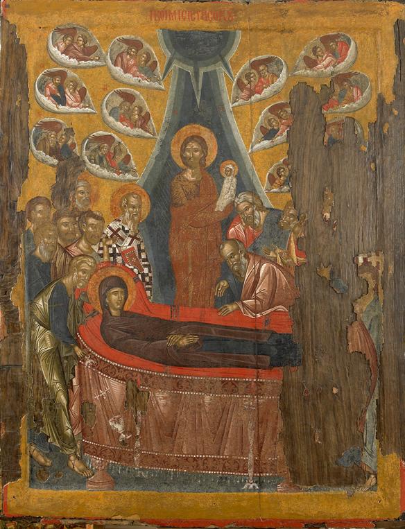 Adormirea Maicii Domnului. Icoană portabilă, Sfânta Mănăstire Vatoped, secolul al XV-lea.