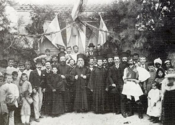 Sfântul Nectarie, după Sfânta Liturghie, într-un sat din Évoia, în 1892