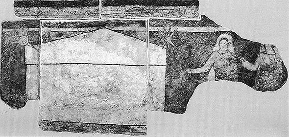 Saintes femmes au tombeau - fresque du baptistere de Doura Europ
