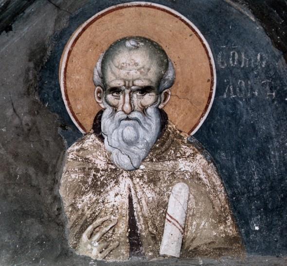 Sfântul Maxim Mărturisitorul, frescă de Manuil Panselinos (fragment), biserica Protaton, Athos, sec. XIV