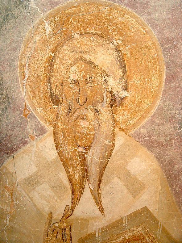 Sfantul Policarp al Smirnei – frescă, Novgorod, sec XIV, detaliu