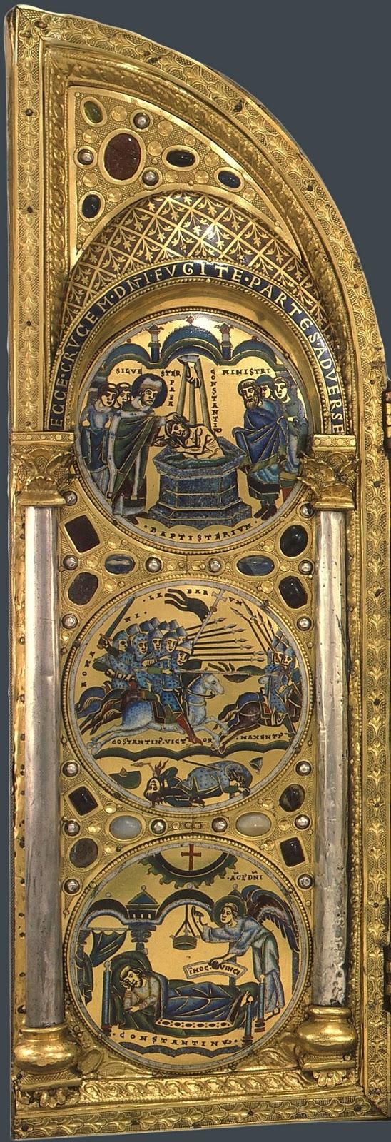 Aripa stângă a tripticului de la Stavelot, de jos în sus: Constantin cel Mare vede în vis semnul crucii în noaptea dinaintea bătăliei de la podul Milviei, victoria lui Constantin cel Mare la aceeași bătălie și botezarea lui Contantin cel Mare la vârstă înaintată de către Papa Silvestru I.