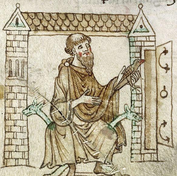 Sfântul Kevin şi pasărea, British Library MS Royal 13 B VIII, secolul XIII