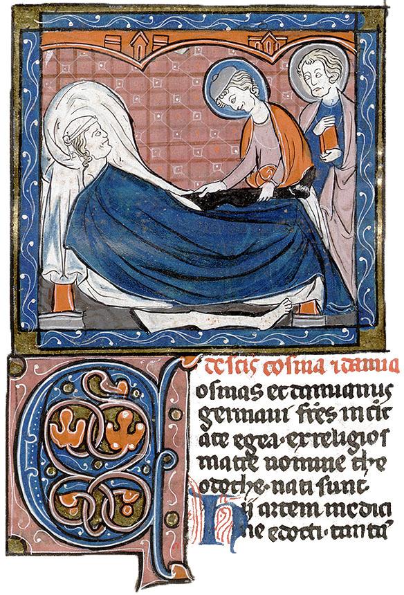 Minunea Sfintilor Cosma si Damian, manuscris francez, sec. XIII