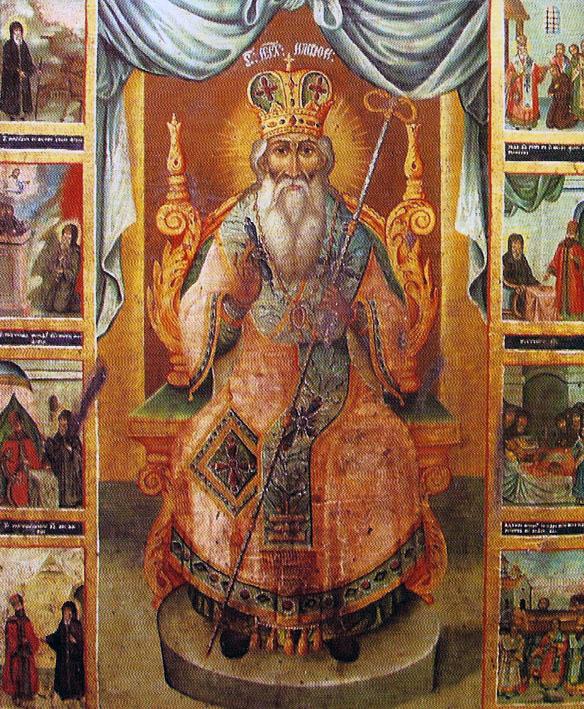 ICOANA ACATIST a SF NIFON II din 1853 aflata la Manastirea Stelea din Targoviste