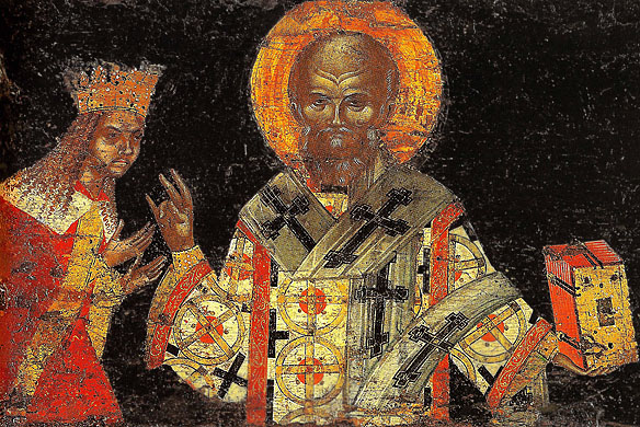 Sf  NIFON II si NEAGOE BASARAB icoana de pe capacul raclei de la Man DIONISIU circa 1515 IN